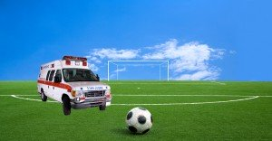 Ambulance on football field